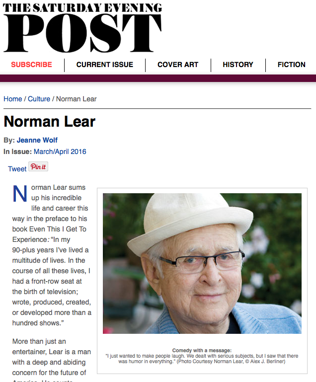Jeanne Wolf on Norman Lear for the Saturday Evening Post