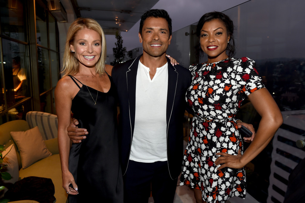 2016 FOX ALL-STAR PARTY: (L-R) Kelly Ripa, PITCH cast member Mark Consuelos and EMPIRE cast member Taraji P. Henson celebrate at the 2016 FOX ALL-STAR PARTY, Monday, Aug. 8 at a private members-only club in West Hollywood, CA. CR: Frank Micelotta/FOX